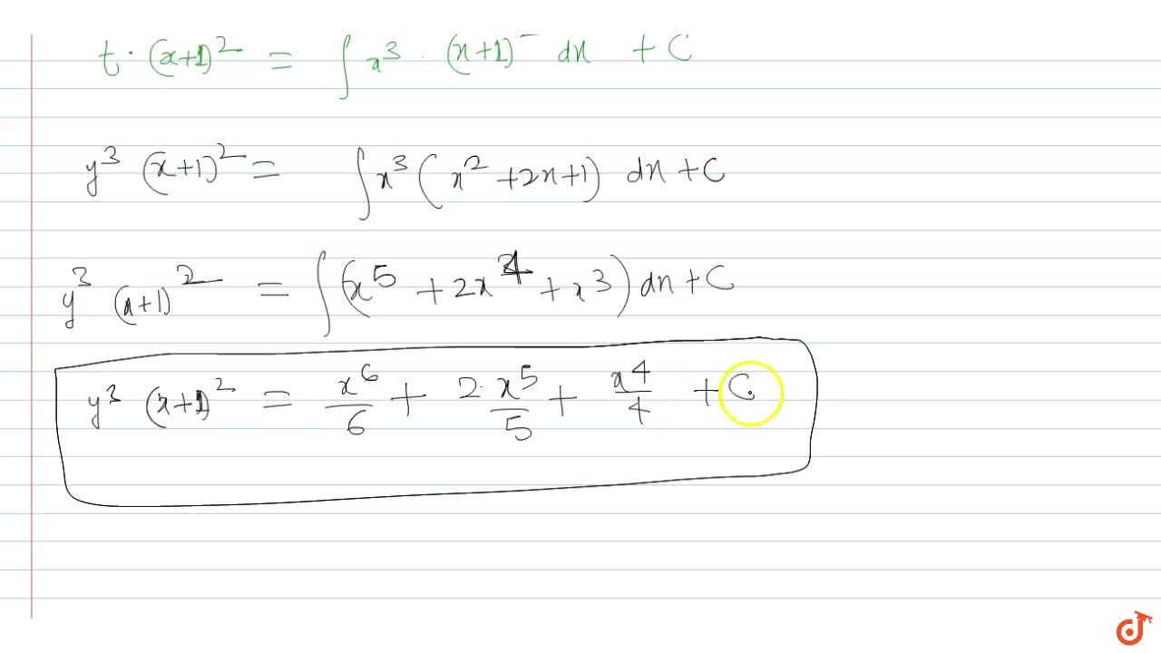 Solve the following differential equations.  3(dy),(dx)+(2y),(x+1)=(x^3),(y^2)