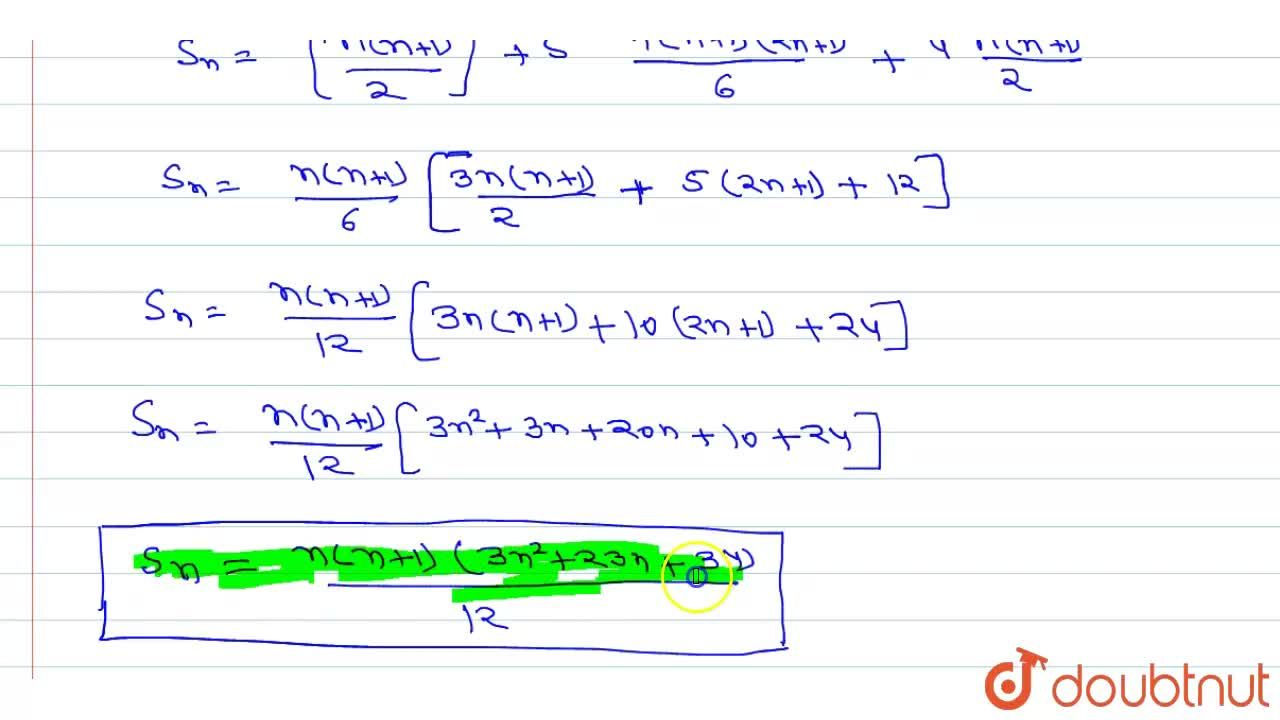 Solution for Find the sum of the following series to n term: