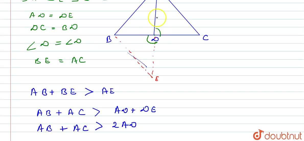 Solution for Prove that sum of any two sides of a triagle is gr