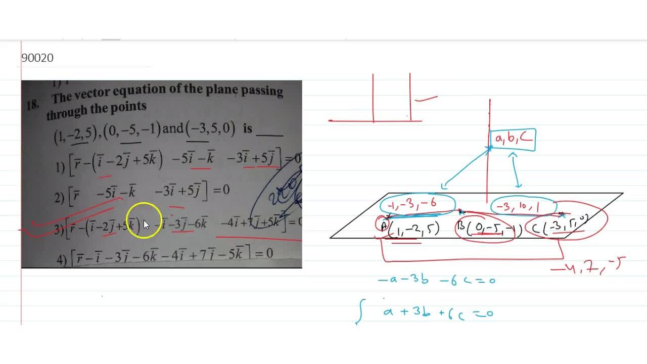 Solution for vector equation of the plane passing through the p