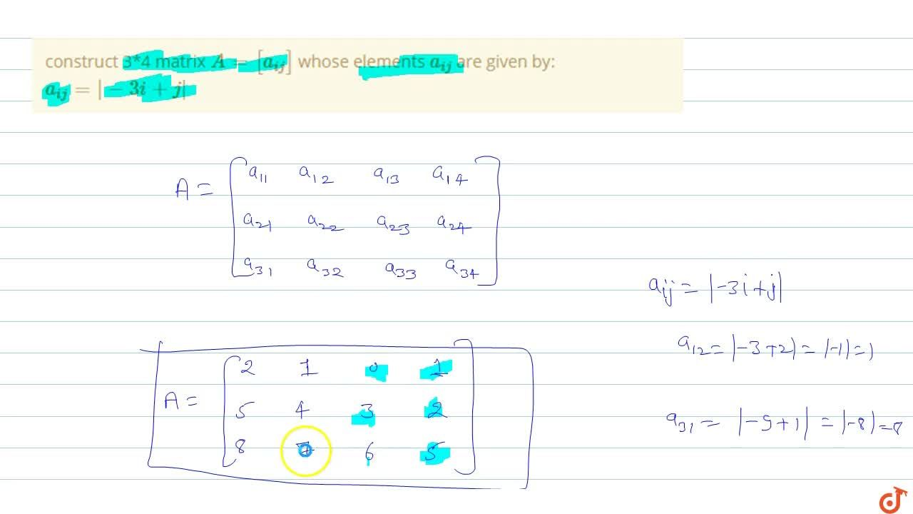 Solution for construct 3*4 matrix A=[a_(ij)] whose elements