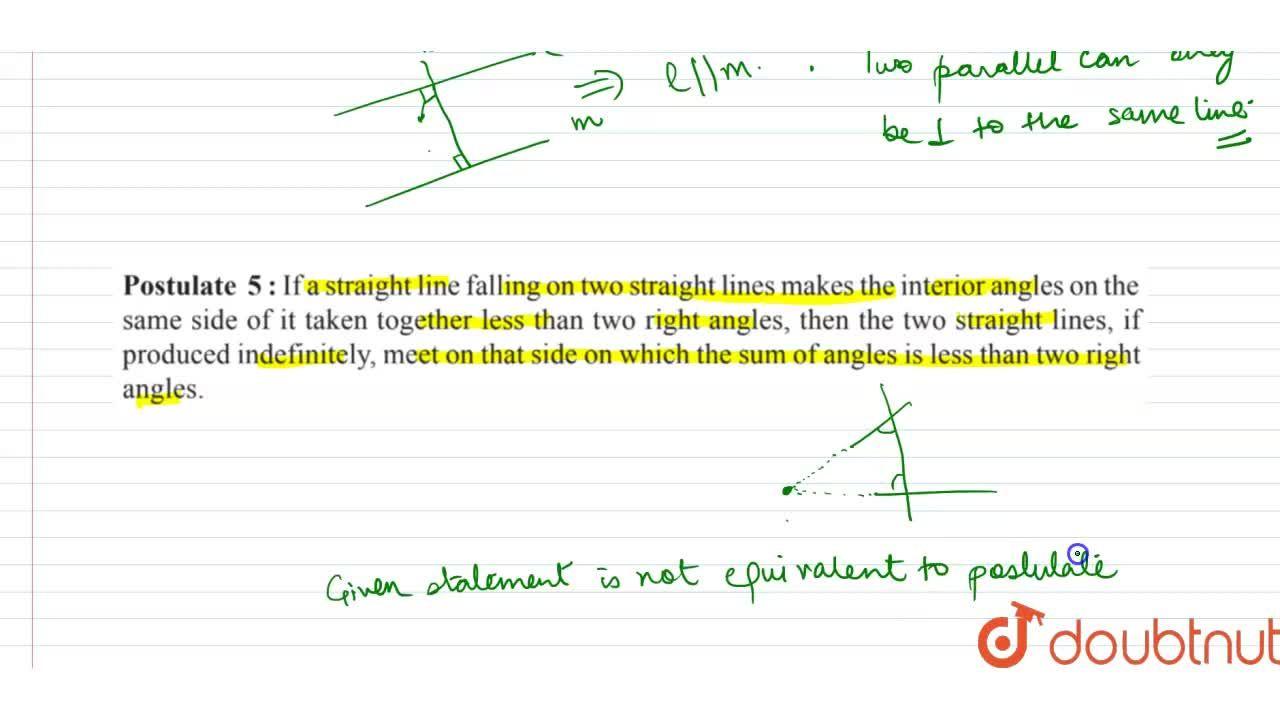 """Study the following statements  <br>   """" Two   intersecting lines cannot be perpendicular to the same line """" Check whether it is an equivalent version to the Euclid's fifth postulate."""