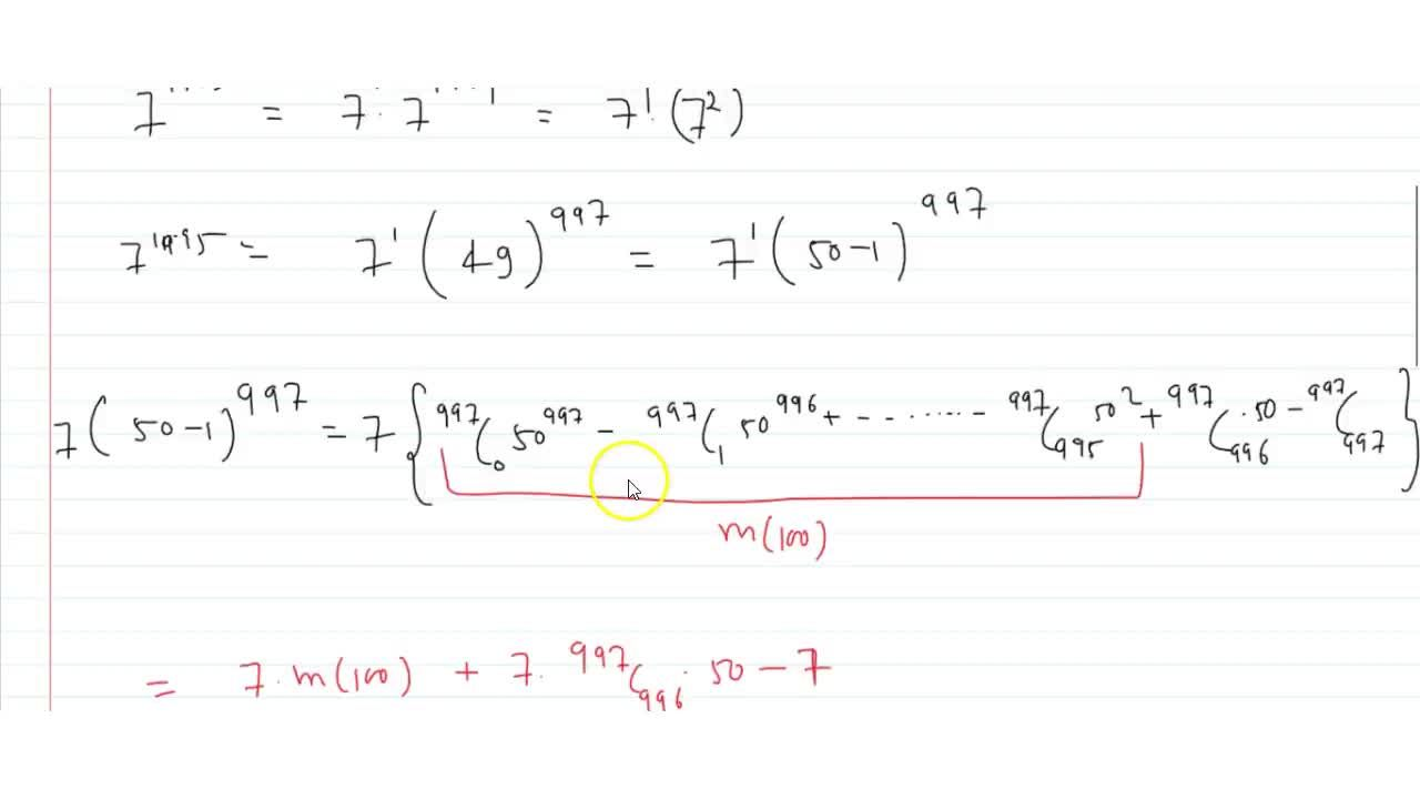 Solution for The number 7^(1995) when divided by 100, leave