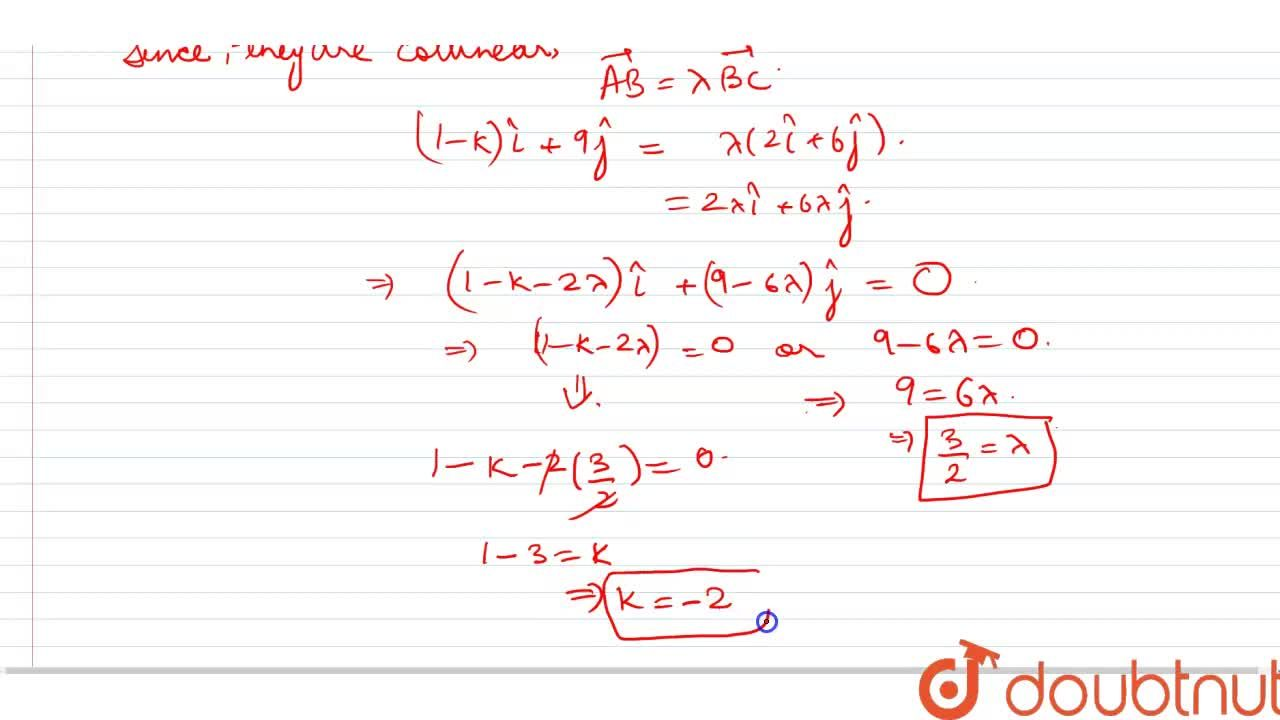 Solution for Using vectors, find the value of k, such that the