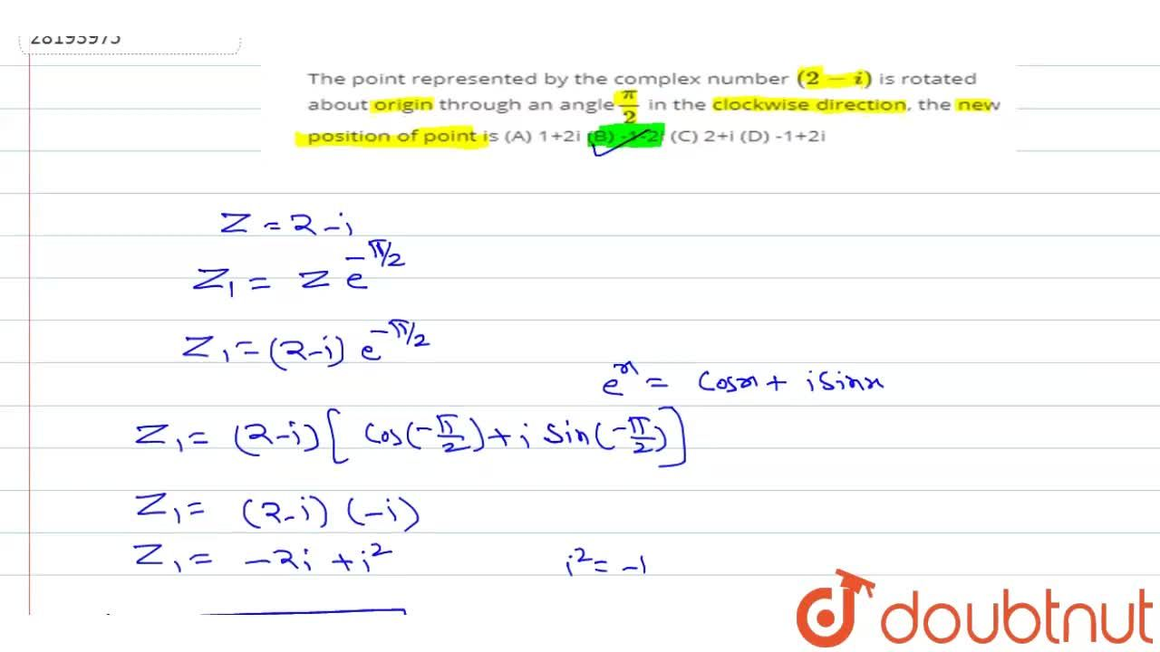 Solution for The point represented by the complex number (2 -