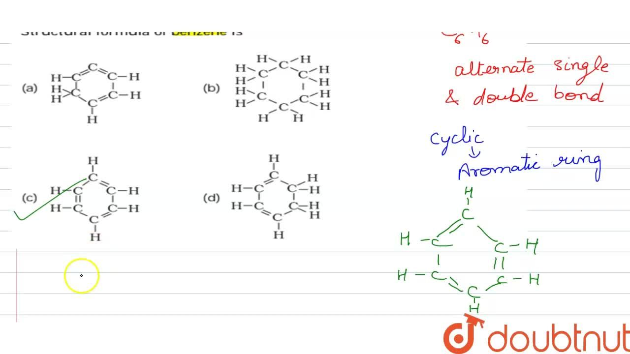 Solution for Structural formula of benzene is