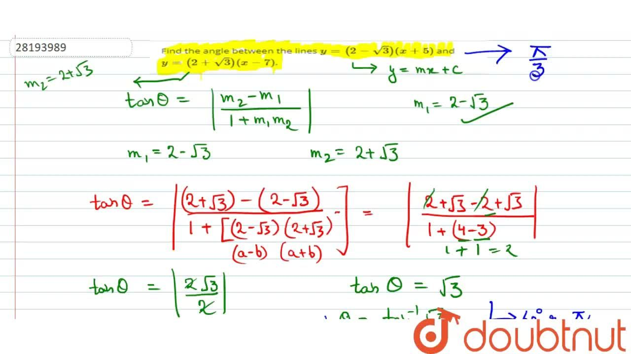 Solution for Find the angle between the lines y=(2-sqrt3)(x+5)