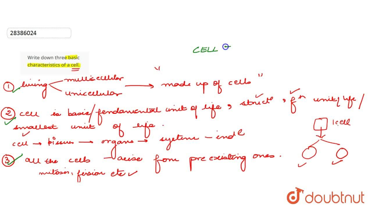 Write down three basic characteristics of a cell.