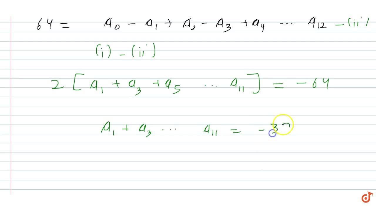 Solution for If  (1+x-2x^2)^6=sum_(r=0)^12 a_r.x^r then  a_1