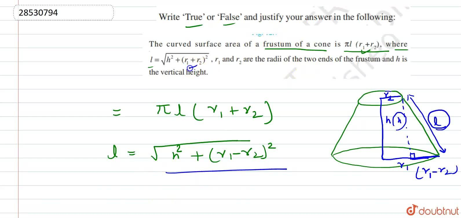 Solution for The curved surface area of  frustum of a cone is