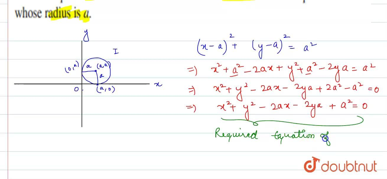 Find the equation of the circle which touches the both axes in first quadrent and whose radius is a.