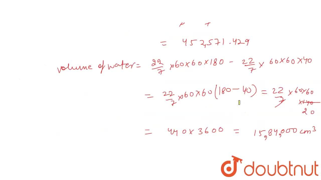 """A solid  right  circular cone of height  120 cm and radius 60 cm is placed in a right circular cylinder full of water of height  180 cm.Such  that  it  touhces the  bottom .Find the volume  of water of left  in the  cylinder, if the  radius of the  cylinder is equal to the radius  to the cone. <br> <img src=""""https:,,d10lpgp6xz60nq.cloudfront.net,physics_images,ARH_NCERT_EXE_MATH_X_C12_S01_059_Q01.png"""" width=""""80%"""">"""