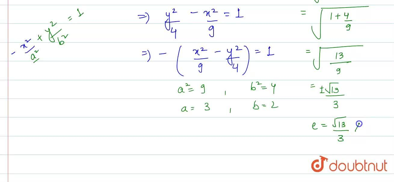 Solution for Find the eccentricity of the hyperbola 9y^(2)-4x^