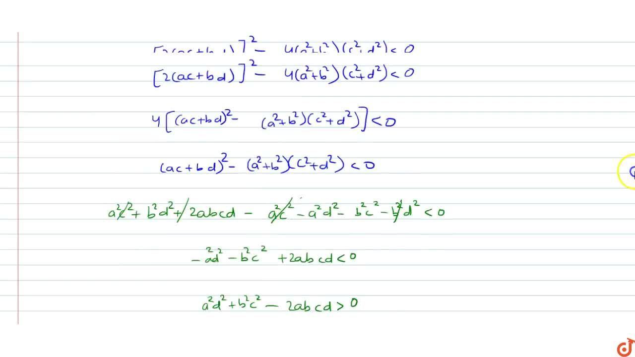 If (a^2+b^2)x^2+2(ab+bd)x+c^2+d^2=0 has real roots then