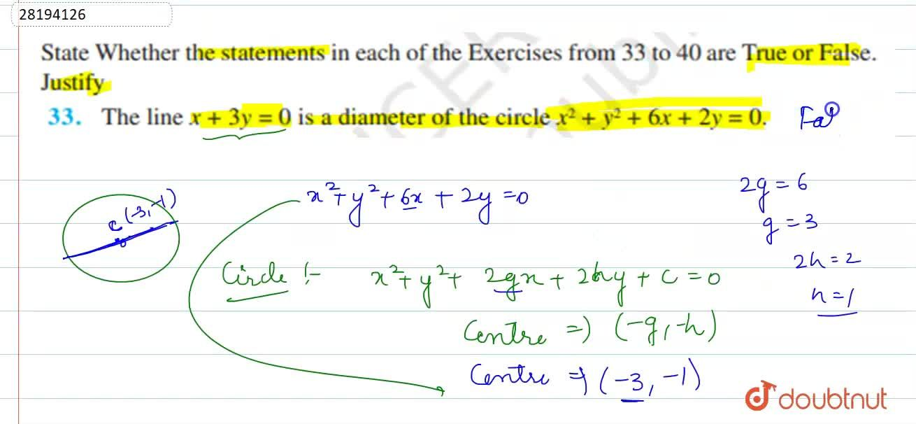 Solution for The line x+3y=0 is a diameter of the circle x^(2)