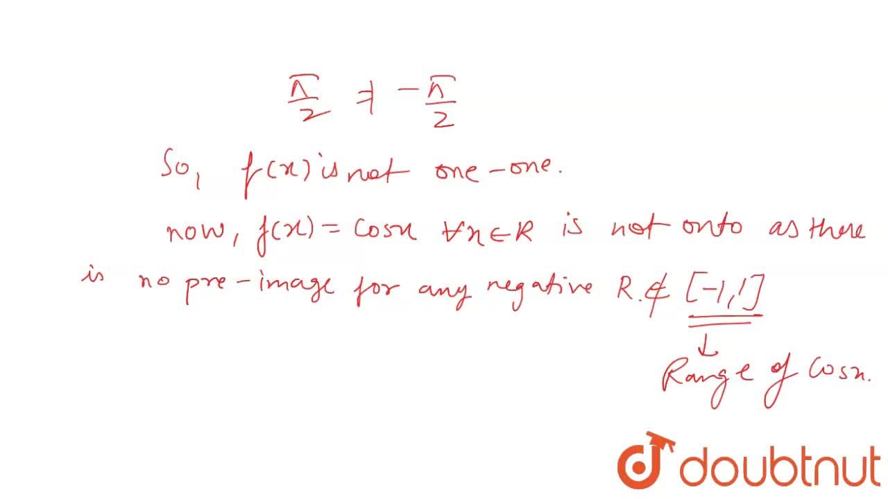 Let the function f:R to R be defined by f(x)=cos x, AA x in R. Show that f is neither one-one nor onto.