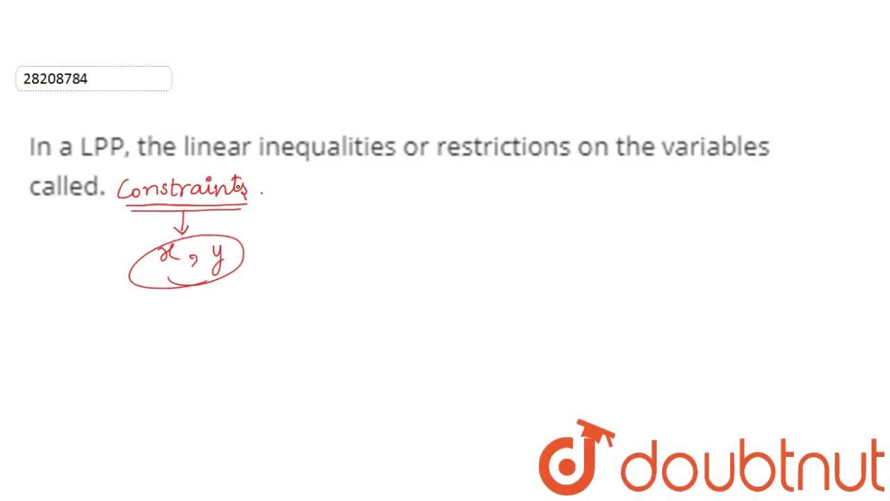 Solution for In a LPP, the linear inequalities or restrictions