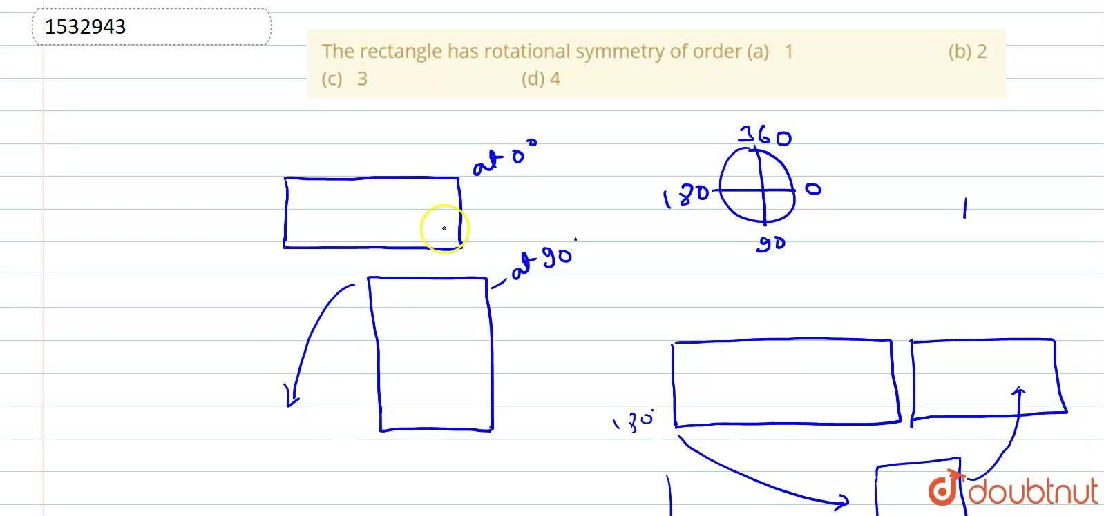 Solution for The rectangle has   rotational symmetry of order