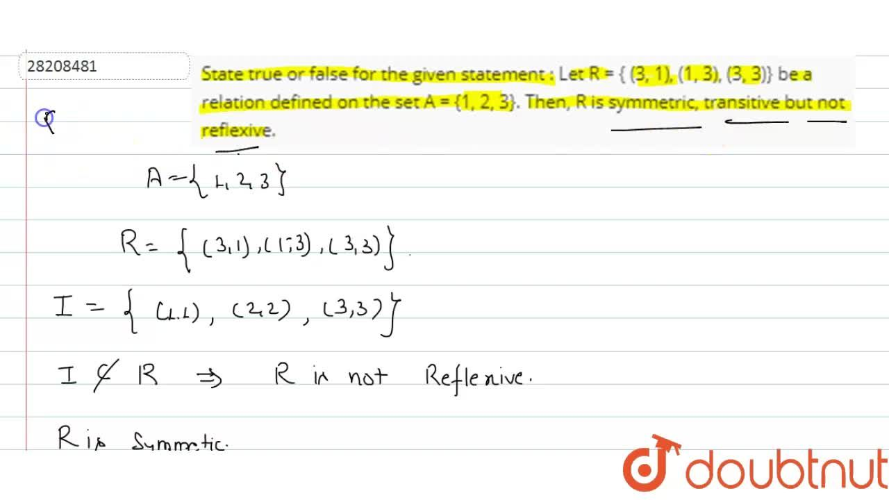 Solution for State true or false for the given statement  :   L