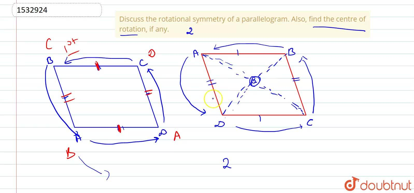 Solution for Discuss the rotational   symmetry of a parallelog
