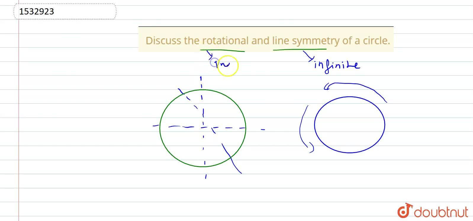 Solution for Discuss the rotational and   line symmetry of a c