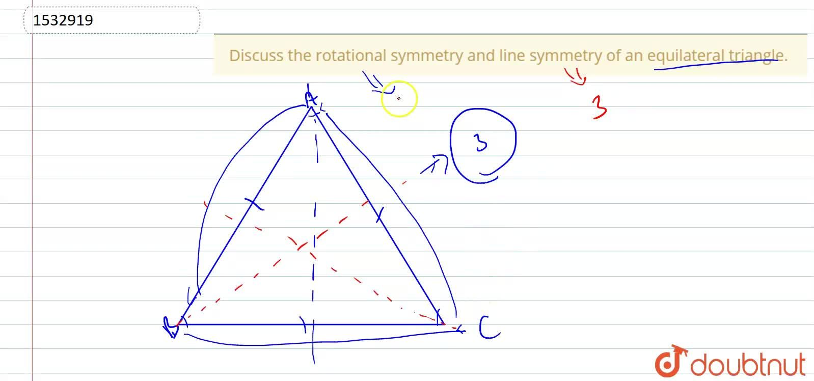 Solution for Discuss the rotational   symmetry and line symmet