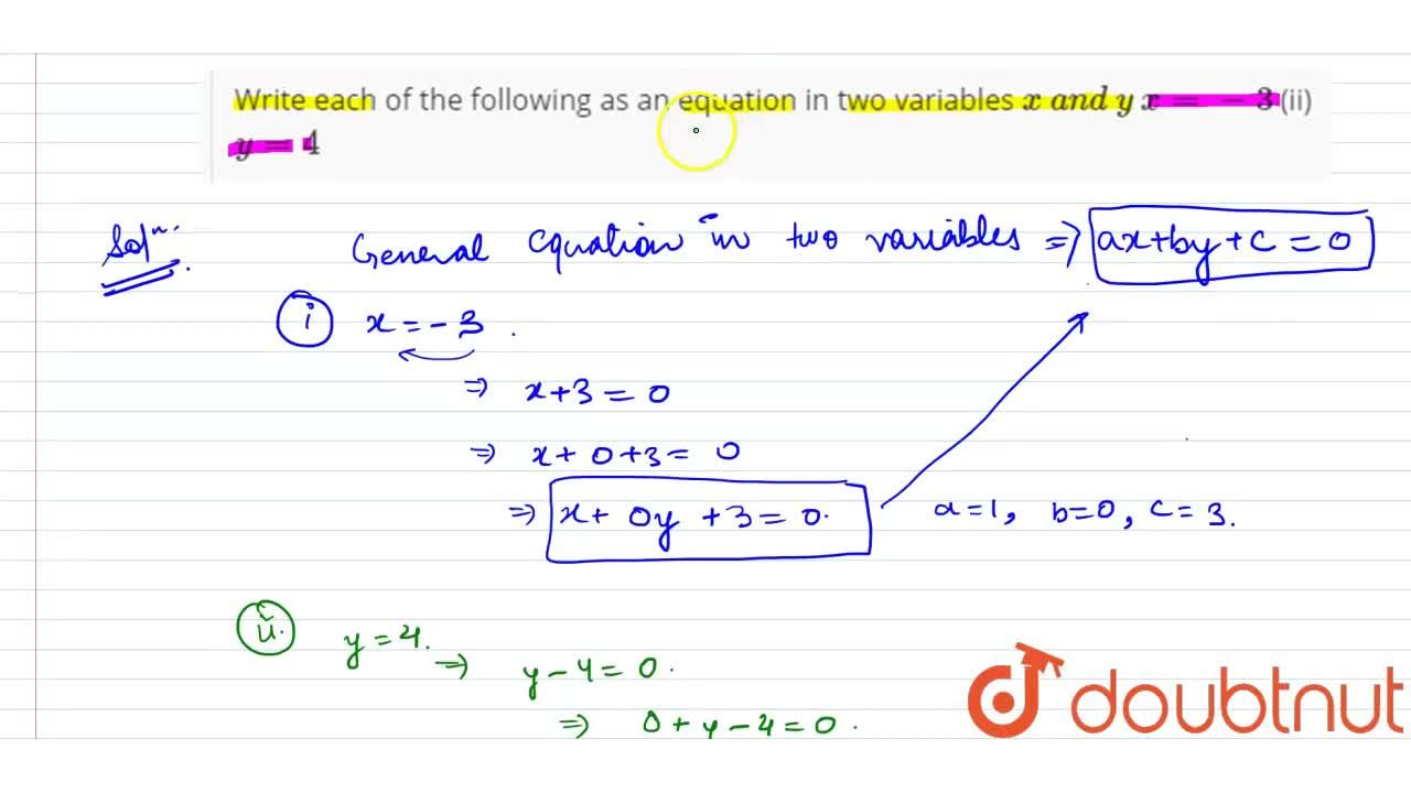 Solution for Write each of the   following as an equation in t