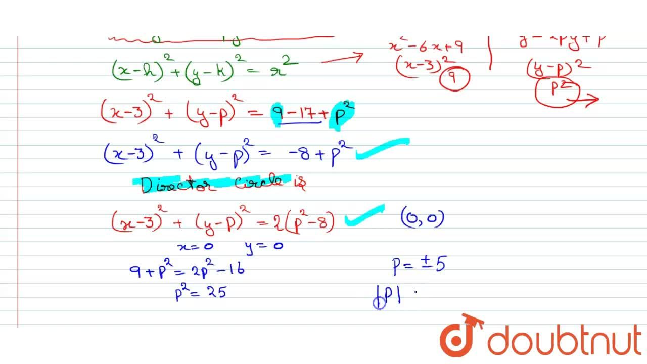 Solution for Suppose two perpendicular tangents can be drawn fr