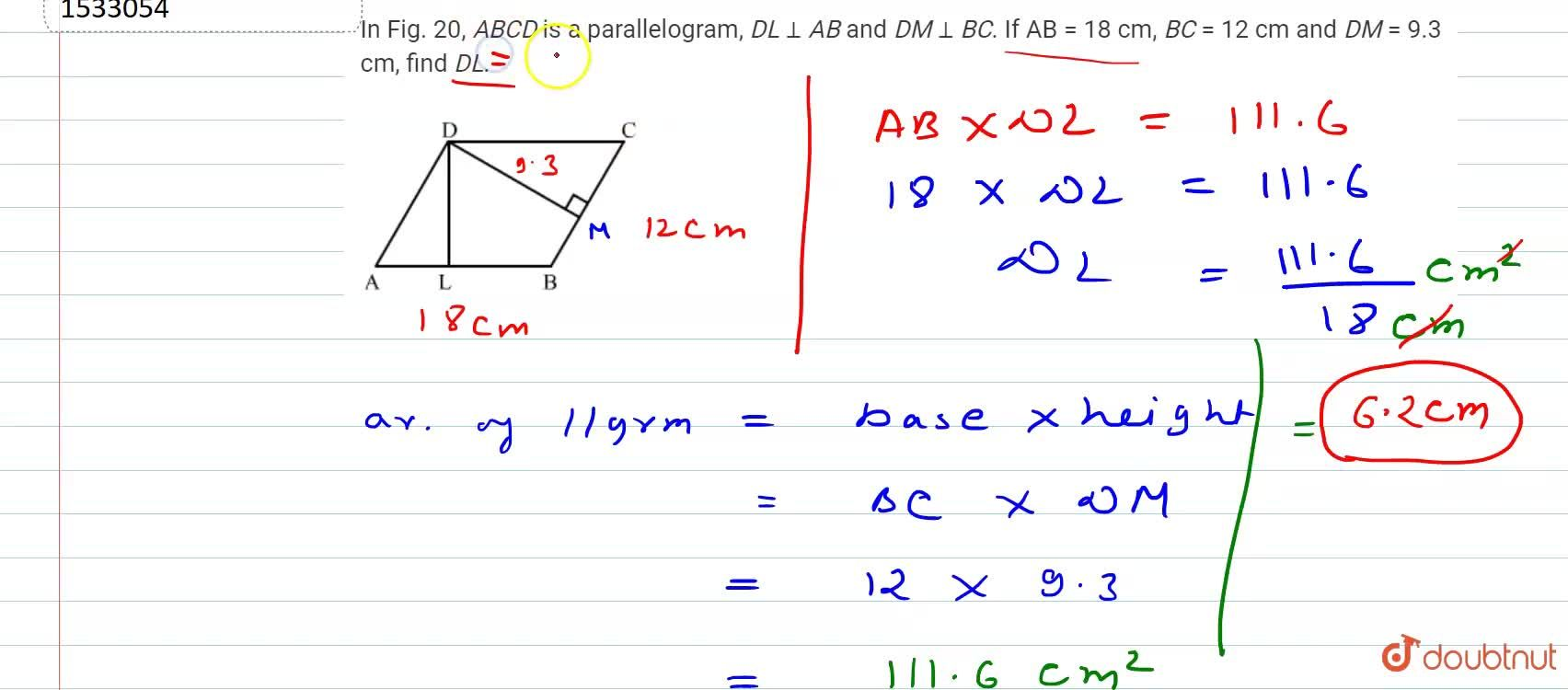 Solution for In Fig.20, A B C D is a parallelogram, D L_|_A
