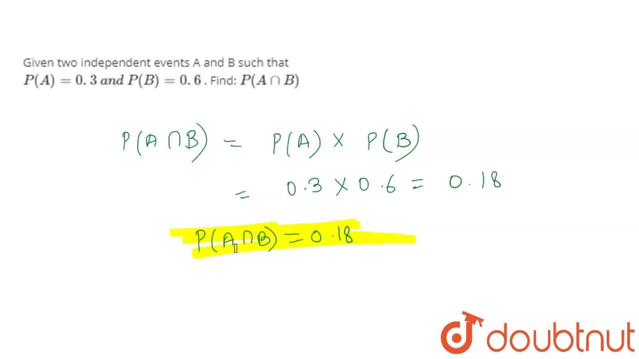 Solution for Given two independent events A and B such that P(