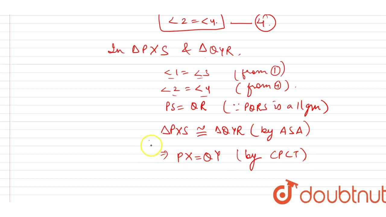 P Q R S is a parallelogram. P X\ a n d\ Q Y are respectively, the   perpendiculars from P\ a n d\ Q to S R\ a n d\ R S produced. Prove that P X=Q Y