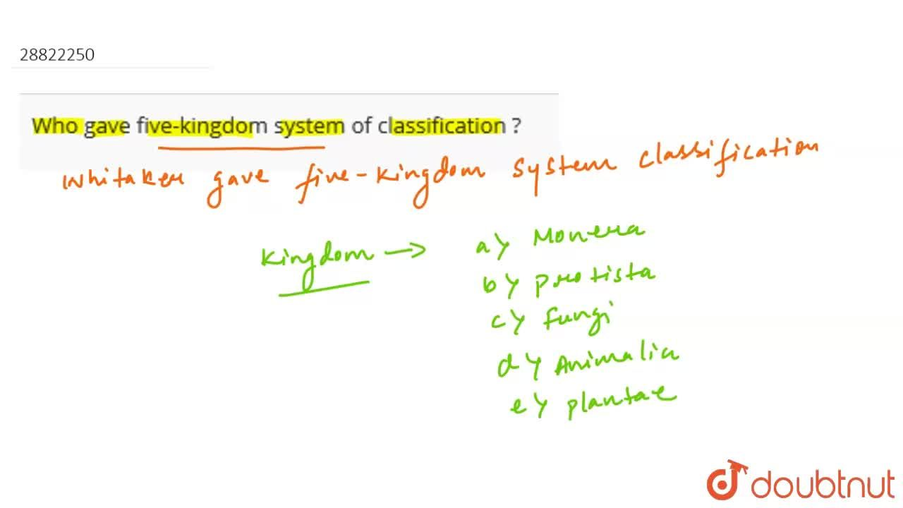Who gave five-kingdom system of classification ?