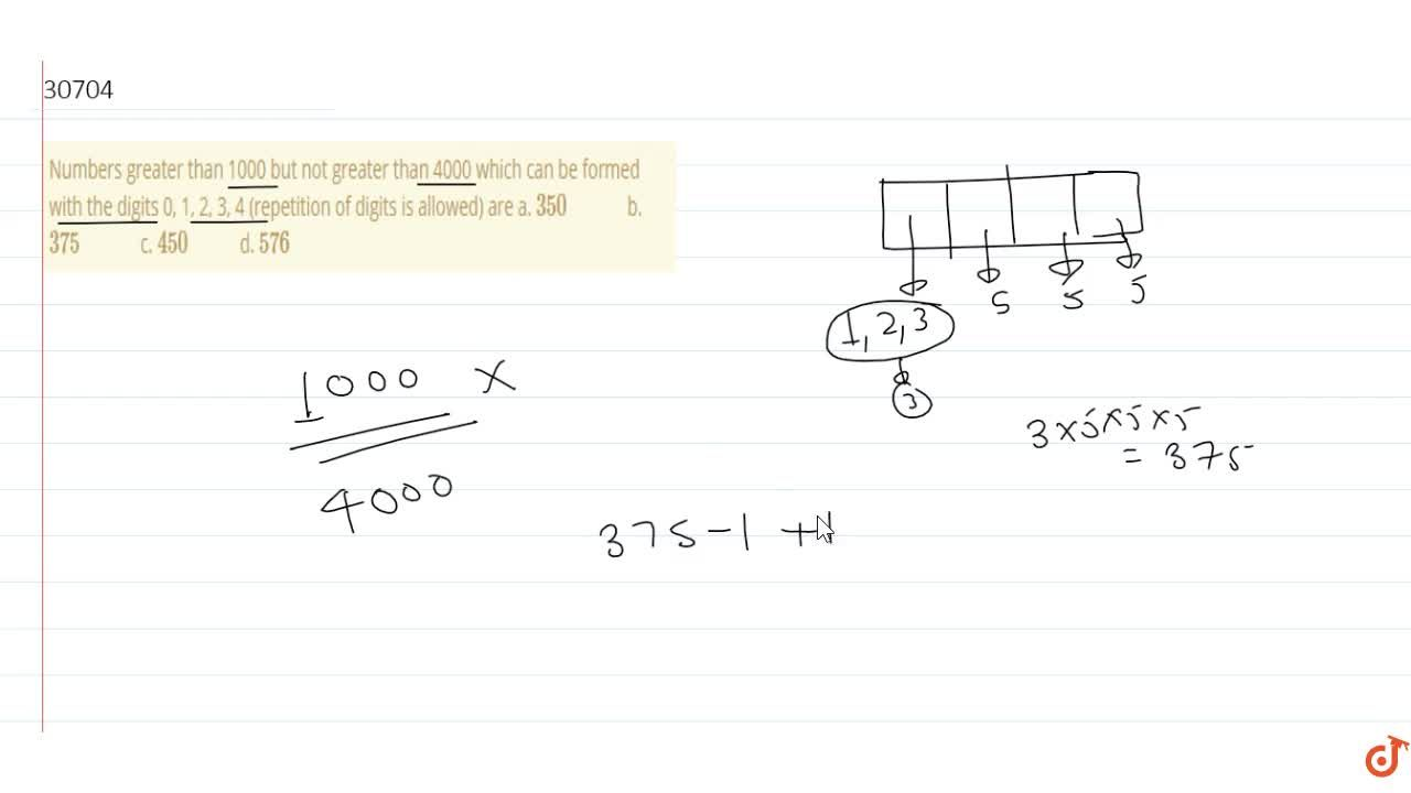 Solution for The number of numbers greater than or equto 1000 b