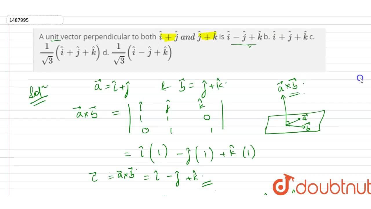 Solution for A unit vector perpendicular to both  hat i+ hat j