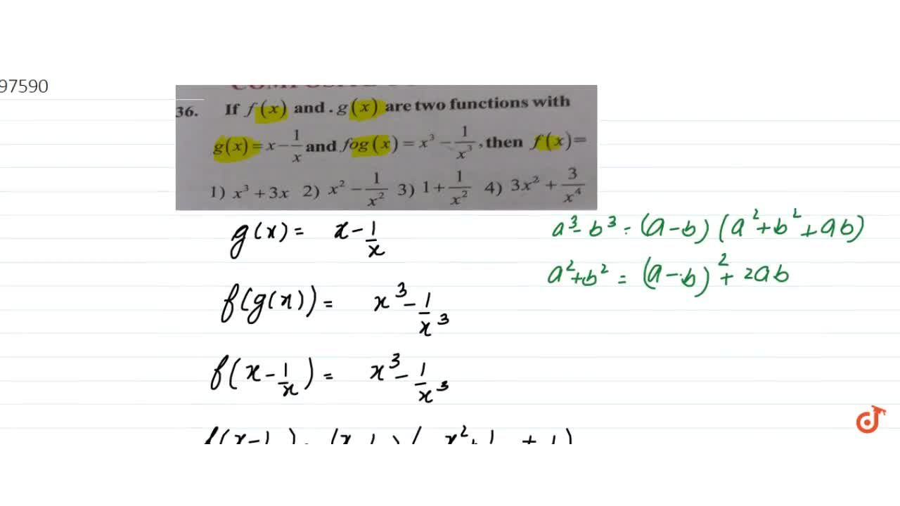 Solution for If f(x) and.g (x) are two functions with g(x)=x-1