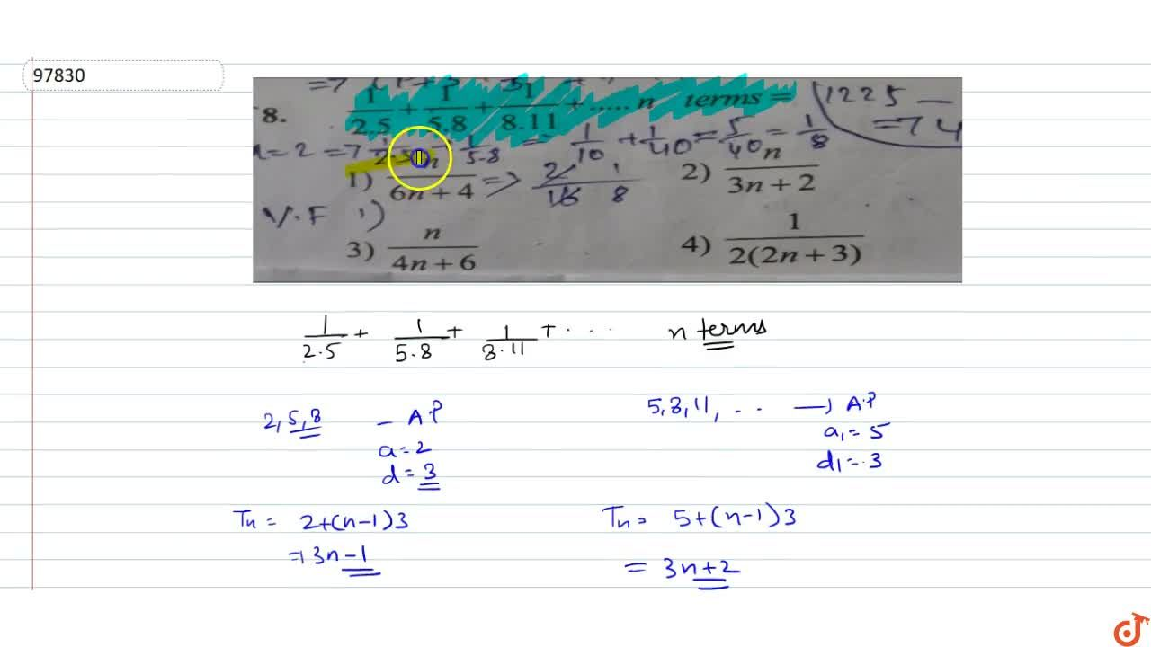 Solution for 1,(2.5)+1,(5.8)+1,(8.11)+...n terms=   (A)n,(6n