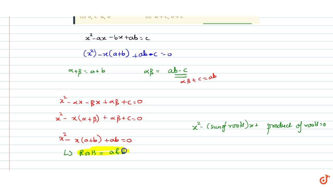 Solution for Let alpha,beta be the roots of the equation