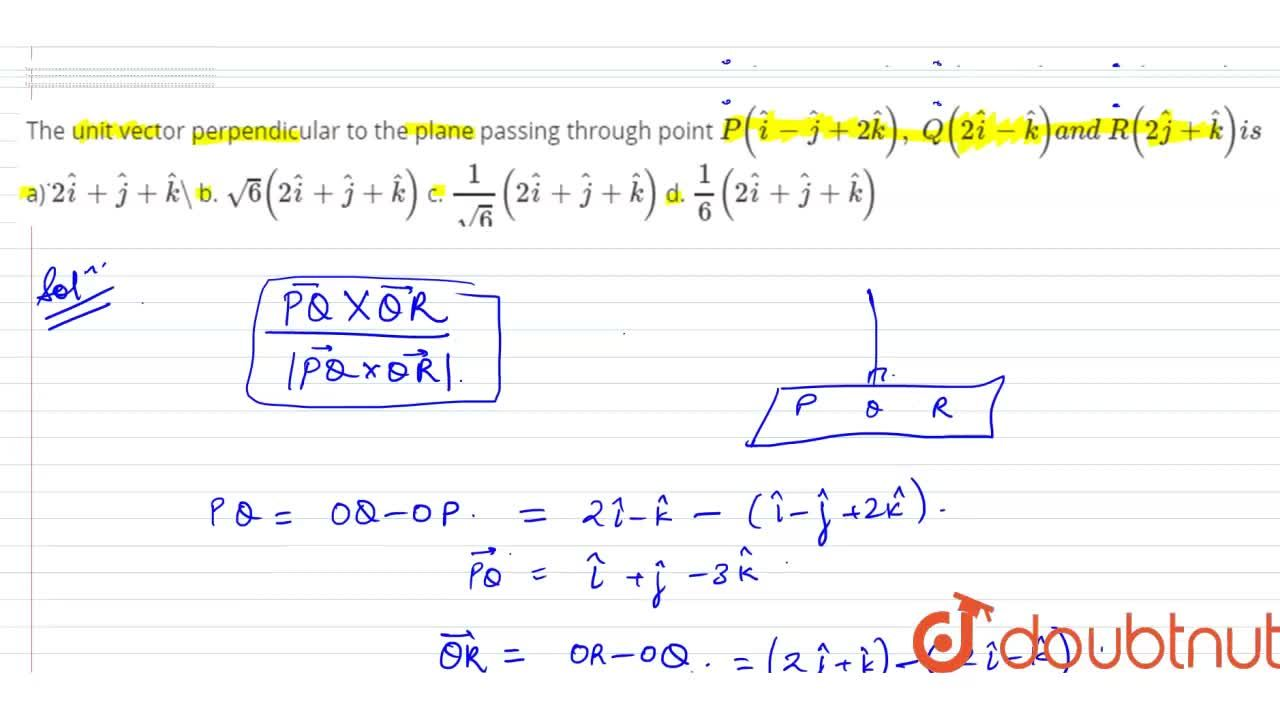 Solution for The unit vector perpendicular to the plane passing
