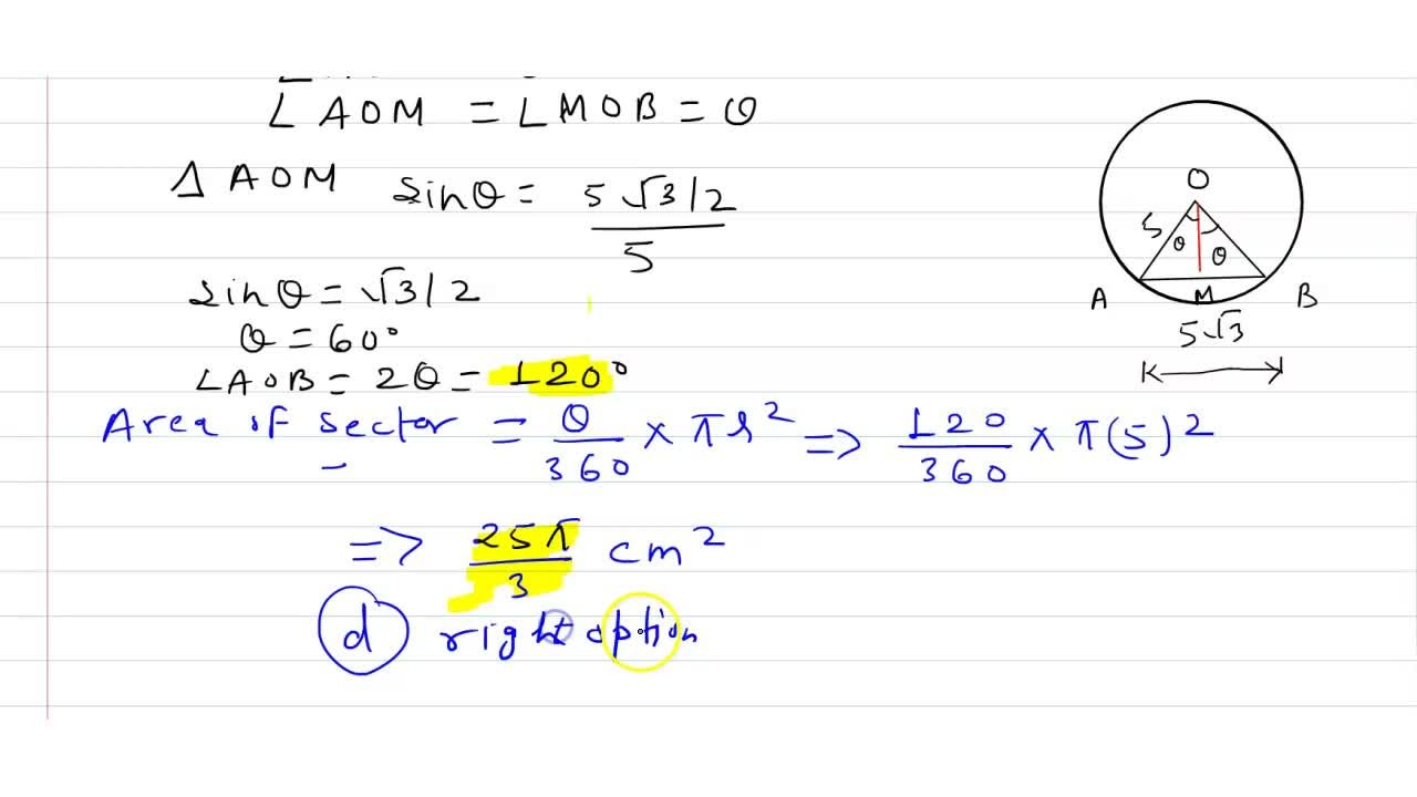 Solution for If A B is a   chord of length 5sqrt(3) cm of
