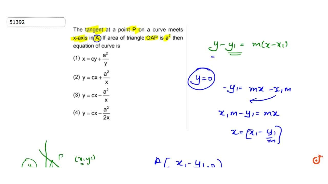 Solution for The tangent at a point P on a curve meets x-axis