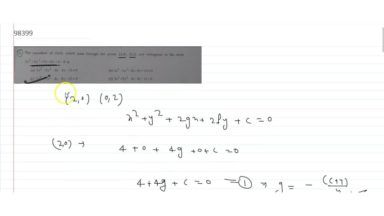 Solution for The equation of circle which pass through the poin
