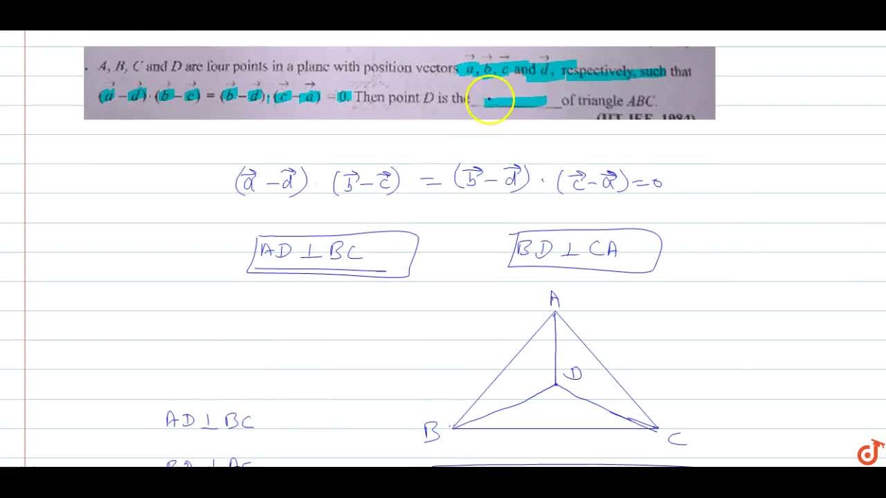 Solution for  A, B, C and D are four points in a plane with pos