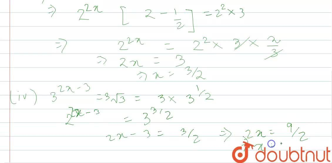 Solution for Find the value of x in each of the following cases