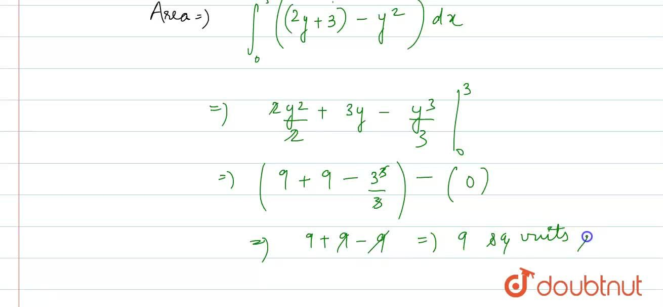 Solution for Find the area bounded by the curve y=sqrtx,x=2y+3