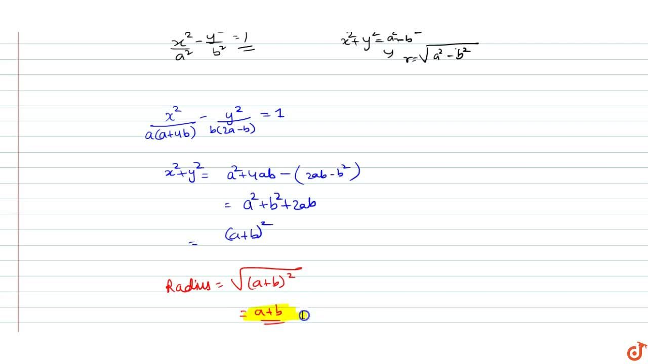 Solution for The radius of the director circle of the hyperbola