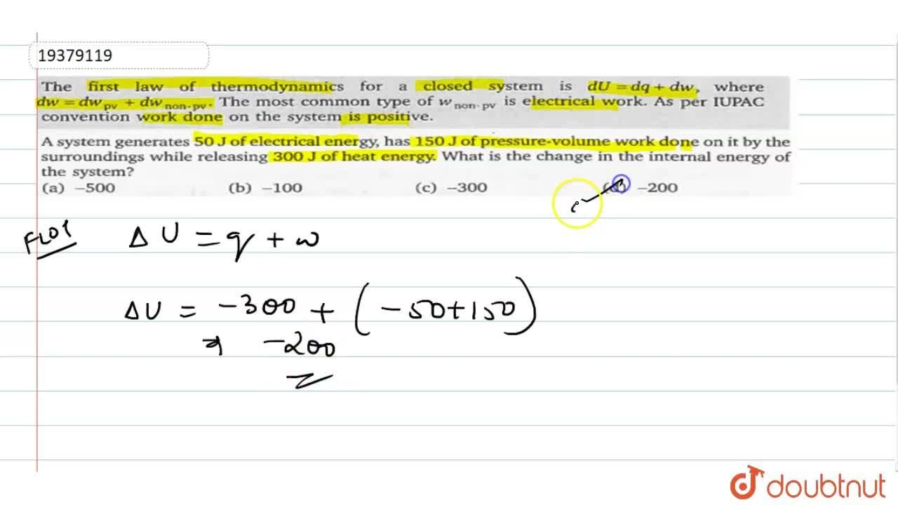 Solution for The first law of thermodynamics for a closed syste