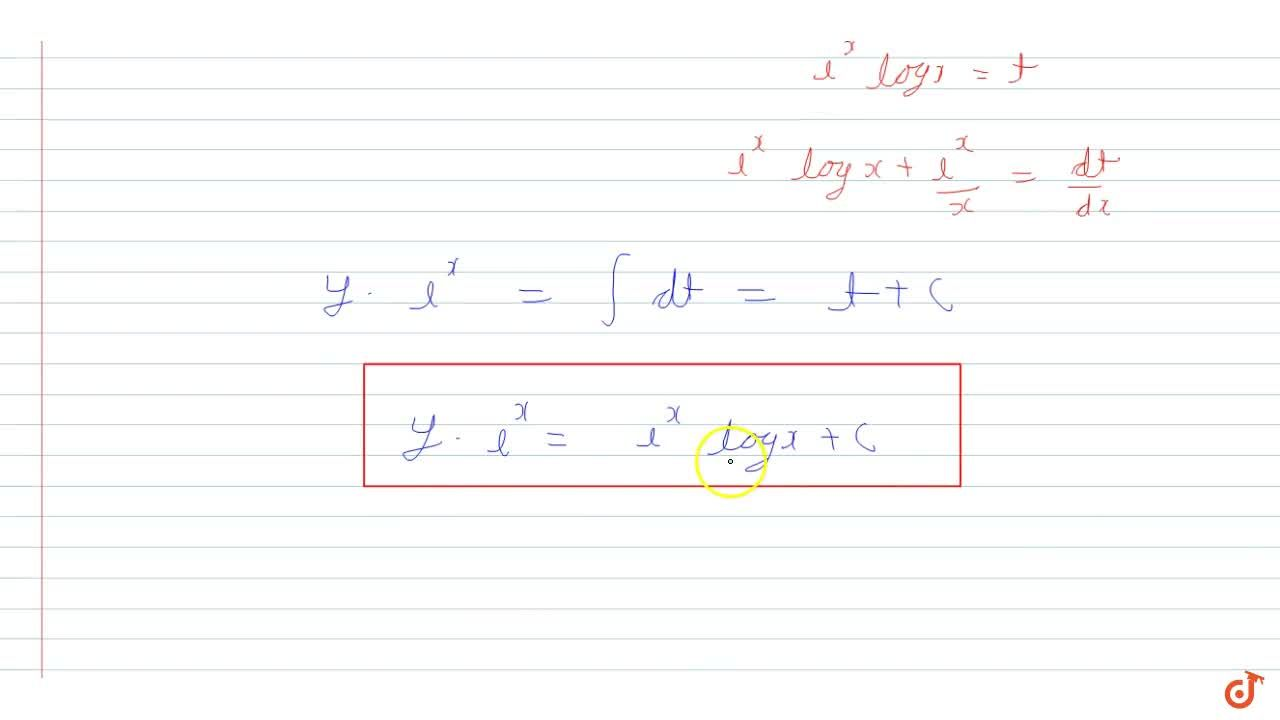 Solution for Solve differential equation dy,dx + y = ( 1 + x l