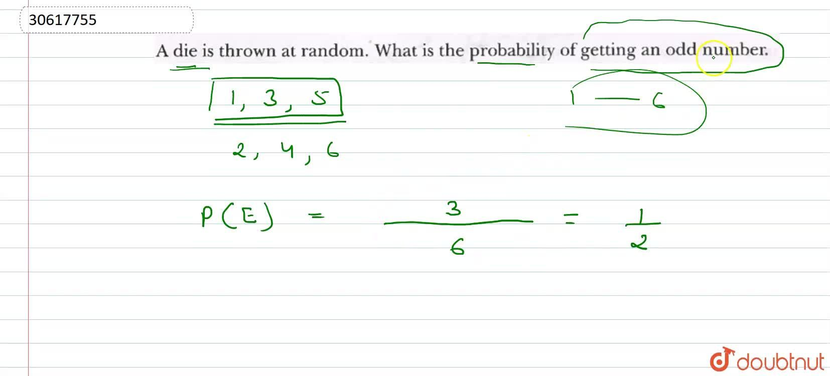 Solution for A die is thrwon at randow. What is the probability