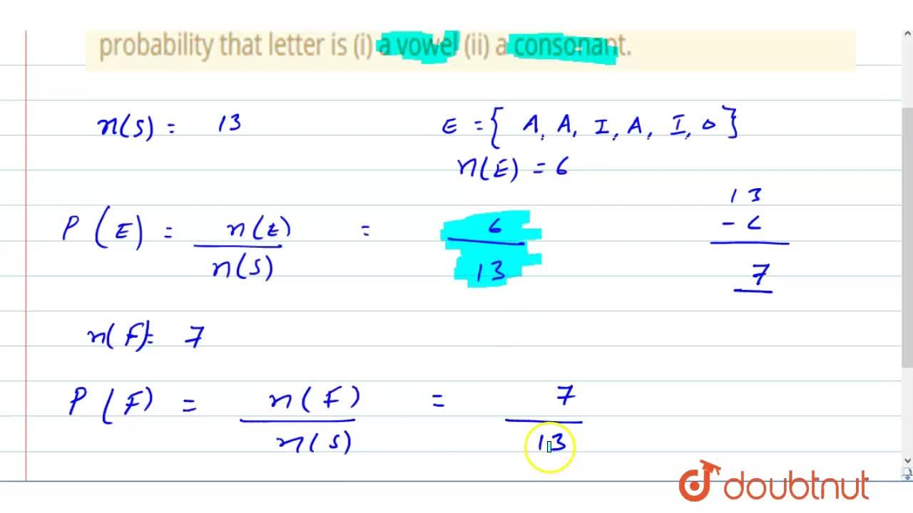 Solution for A letter is chosen at random from the word ASSASSI
