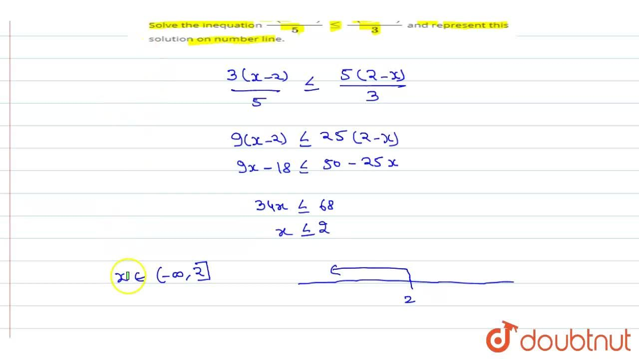 Solve the inequation (3(x -2)),(5) le (5(2 -x)),(3) and represent this solution on number line.